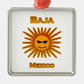 Baja Mexico Sun Face Icon Metal Ornament