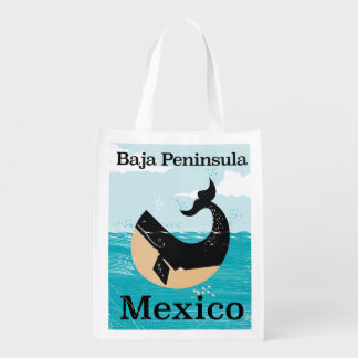 baja peninsula Mexico travel poster Reusable Grocery Bag