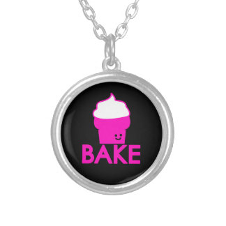 Bake - Cupcake Design Silver Plated Necklace