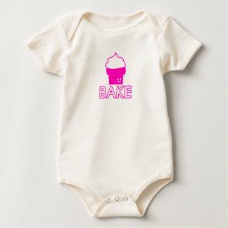 Bake - Cupcake Design - White Text Baby Bodysuit