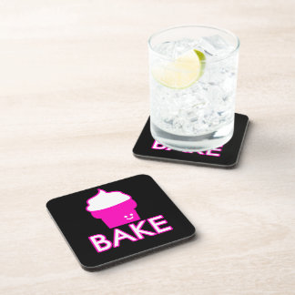 Bake - Cupcake Design - White Text Coaster