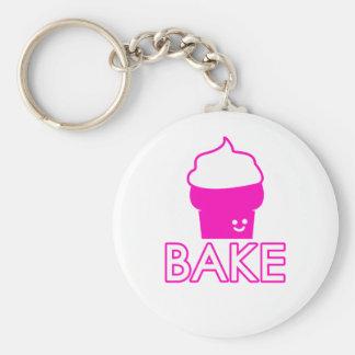 Bake - Cupcake Design - White Text Key Ring