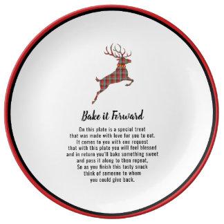 Bake it Forward Plaid Reindeer Holiday Cheer Plate