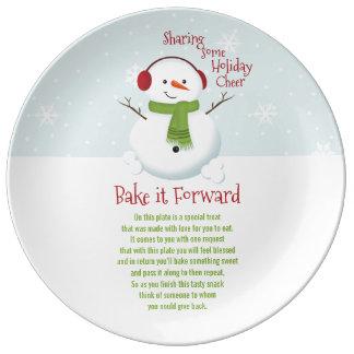Bake it Forward Snowman Holiday Cheer Plate