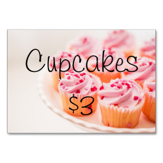 Bake Sale Fundraiser Table Signage Card Table Cards