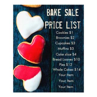 Bake Sale Price List Dark Background Heart Cookies 11.5 Cm X 14 Cm Flyer