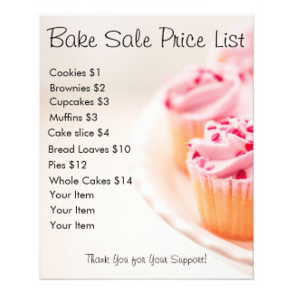 Bake Sale Price List Pink Cupcakes 11.5 Cm X 14 Cm Flyer