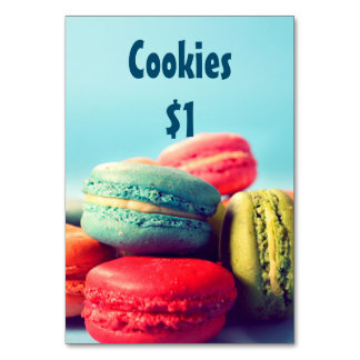 Bake Sale Price Table Sign Colorful Macarons Table Cards