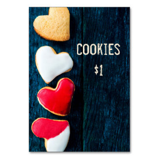 Bake Sale Price Table Sign Dark Background Table Cards