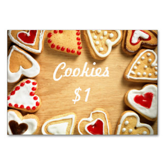 Bake Sale Table Signage Card Cookies on Wood Table Card