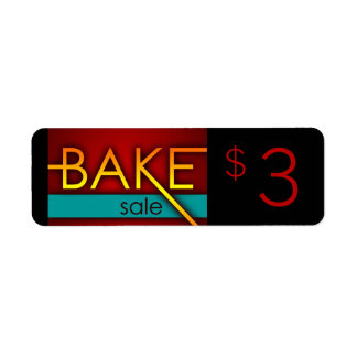bake sale typographic flyers return address label