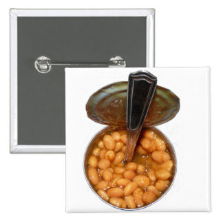 Baked Beans in Tin Can with Spoon 15 Cm Square Badge