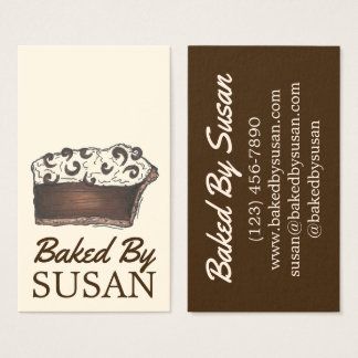 Baked By Bakery Baking Chocolate Cream Pie Slice Business Card