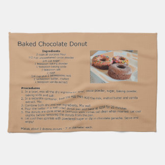 Baked Chocolate Doughnut Recipe Tea Towel