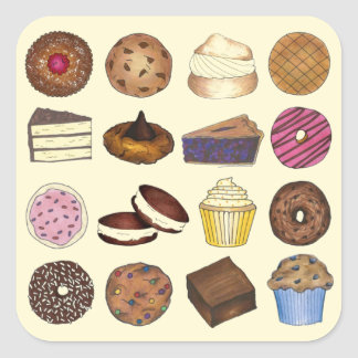 Baked Goods Foodie Muffin Cake Whoopie Pie Cupcake Square Sticker