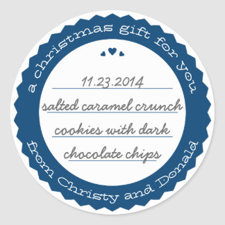 Baked Goods Round Gift Label Sticker Circle Navy