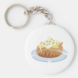 baked potato basic round button key ring