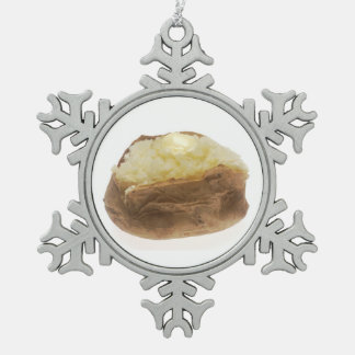 Baked Potato Snowflake Pewter Christmas Ornament