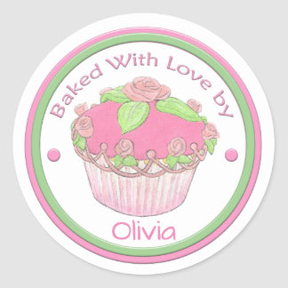 Baked with love Custom Sticker~ROSE CUPCAKE Classic Round Sticker