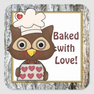 Baked with Love owl kitchen sticker