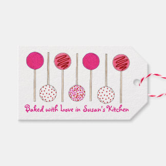 Baked with Love Pink Homemade Cake Pop Pops Tags