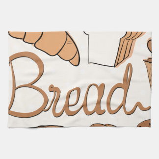 Baker and different kind of bread tea towel