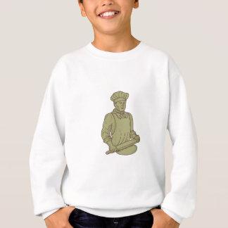 Baker Chef Rolling Pin Dough Mono Line Sweatshirt