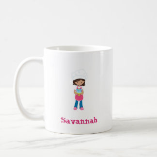 Baker Girl Pink Apron Brown Hair Mug