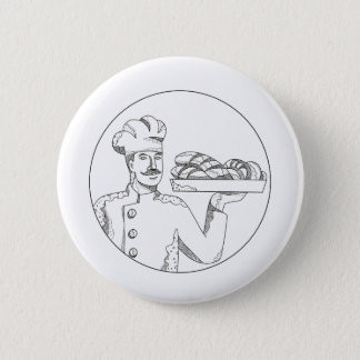 Baker Holding Bread on Plate Doodle Art 6 Cm Round Badge