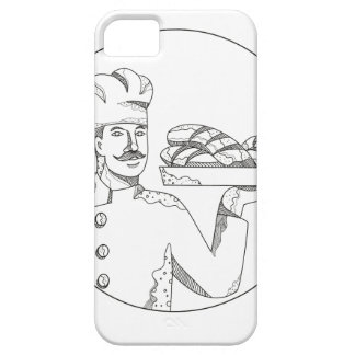 Baker Holding Bread on Plate Doodle Art Case For The iPhone 5