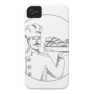 Baker Holding Bread on Plate Doodle Art Case-Mate iPhone 4 Case