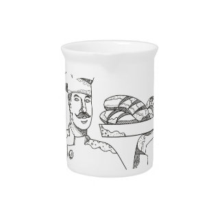 Baker Holding Bread on Plate Doodle Art Pitcher