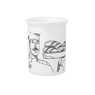 Baker Holding Bread on Plate Doodle Art Pitcher