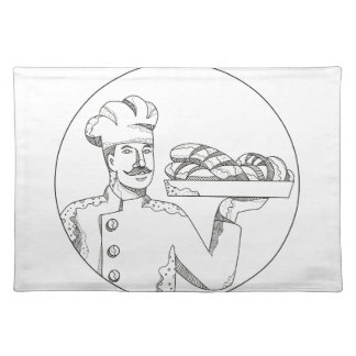 Baker Holding Bread on Plate Doodle Art Placemat