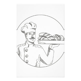 Baker Holding Bread on Plate Doodle Art Stationery