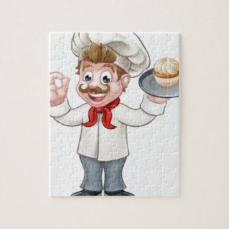 Baker Holding Cake Cartoon Mascot Jigsaw Puzzle