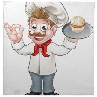 Baker Holding Cake Cartoon Mascot Napkin