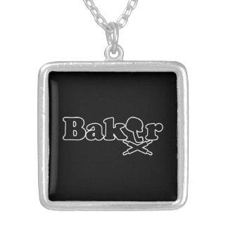 Baker Logo Square Pendant Necklace