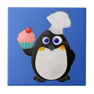 Baker Penguin with Cupcake Ceramic Tile