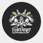 Baker Skull and Kitchen Utensils Round Sticker