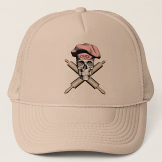 Baker Skull and Rolling Pins: Pink Trucker Hat