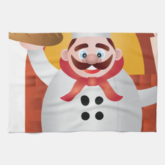 Baker with Bread and Rolling Pin Illustration Kitchen Towels