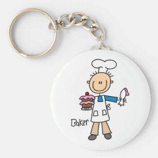 Baker With Cake Basic Round Button Key Ring