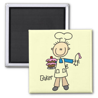 Baker With Cake Square Magnet