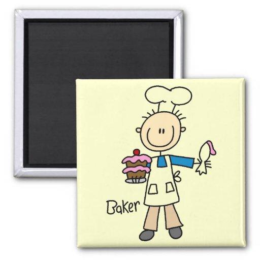 Baker With Cake Fridge Magnet