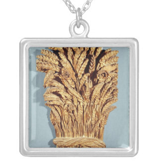 Baker's sign with ears of wheat and flowers silver plated necklace