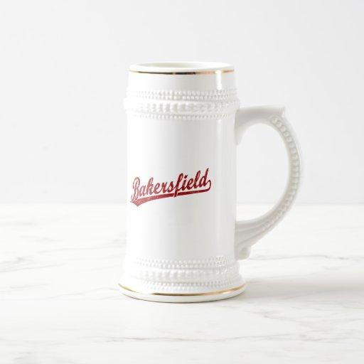 Bakersfield script logo in red coffee mugs