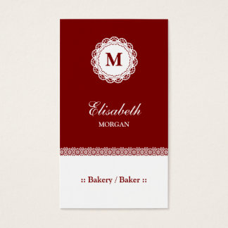 Bakery / Baker Red White Lace Monogram Business Card