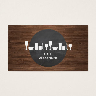 Bakery, Bar, Cafe Life on Rustic Background Business Card