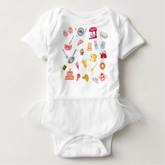 Bakery beverage and sweet kitchen cute icon set baby bodysuit